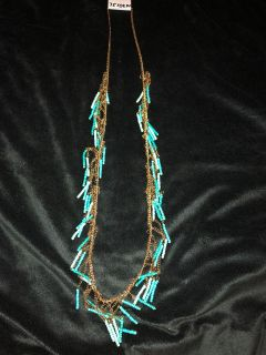 Cute Gold And Turquoise Seabeaded Necklace