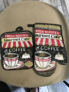 Potholders with Coffe designs, set of two
