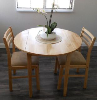 "DROP LEAVE DINING TABLE – 3 PIECE SET – NATURAL WITH ARTIFICIAL ORCHID 25"" WHITE CENTERPIECE"