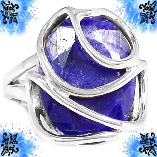 New - Blue Sapphire Quartz Wire Wrapped Ring - Size 6 1/2 - 925 Sterling Silver