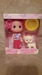 New Doll with Puppy and Bowl