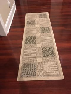 New Safavieh Courtyard Collection Sand and Black Indoor/Outdoor Runner Rug