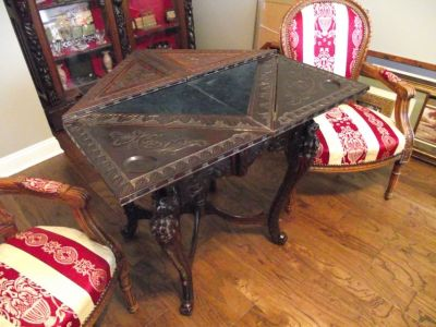 Oriental heavily carved antique game table