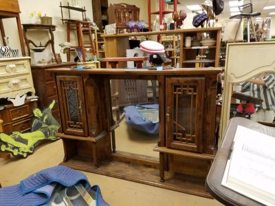 GORGEOUS solid wood ornate lighted hutch