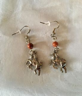 New Unicorn Dangle Earrings with Authentic Gemstone