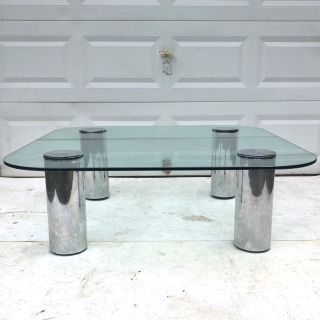 Mid-Century Glass and Chrome Coffee Table