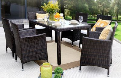 Azure Sky 7 Pieces Outdoor Furniture Complete Patio PE Wicker Rattan Garden Dining Set, Full, Brown