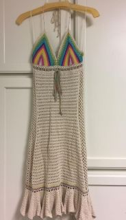 Like New Free People Lined Crochet Halter Dress Size Small. So cute! CP.