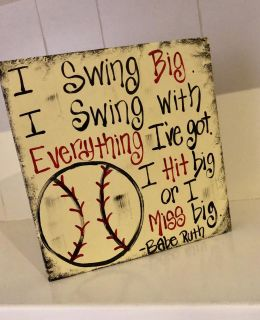 Wood Sign Babe Ruth Quote