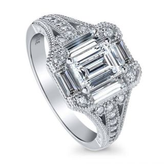 ***TONIGHT ONLY***BRAND NEW***GORGEOUS Emerald Cut CZ Art Deco Engagement Ring***SZ 7