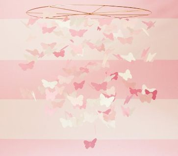 New Pottery Barn Kids Pink & White Butterfly Chandelier Ceiling Mobile