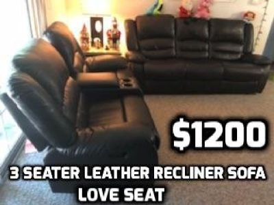 Ashley Leather Sofa & Luv Seat (Reclliner & Console)
