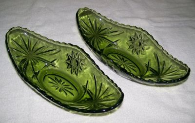 Vintage Green Heavy Glass Relish Set of 2