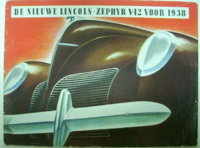 Buy 1938 Lincoln Zephyr V12 Color ORIGINAL Sales Brochure DUTCH Version motorcycle in Holts Summit, Missouri, United States, for US $68.38