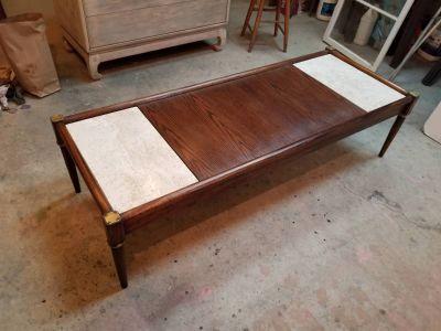 Vintage Mid Century Wood and Marble Coffee Table