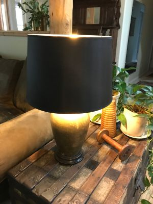 Bronze Lamp with Black Shade