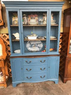 Farmhouse China Cabinet / Hutch with Chicken Wire Accented Doors