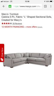 """Brand New Sectional - Macy's """"Carena"""" collection"""