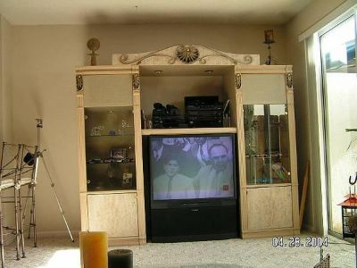 $200, Heavy Glass  Wood Entertainment Center