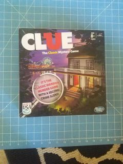 Clue, board game with double sided board.