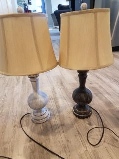 2 wood project lamps