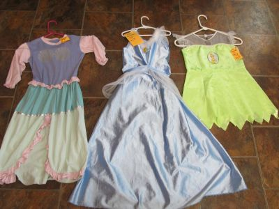 Girls Tinkerbell, Mermaid & Cinderella Costumes Size 7-8 $1-$2