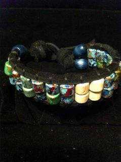$25, Handmade Native American Style Leather Beaded Bracelets approx. 8