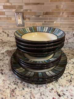 Beautiful green and blue dinner set
