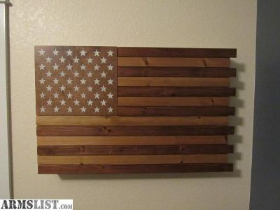 For Sale: Wood American Flag Wall Cabinet - EDC Gun Cabinet