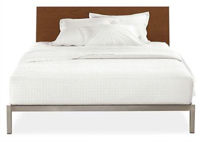 Queen Copenhagen Steel Bed w/ Walnut Headboard