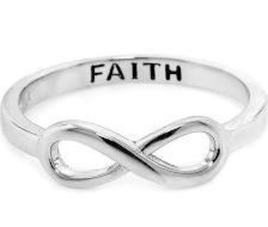 ***BRAND NEW***Infinity Ring engraved with Faith Engraved***SZ 6