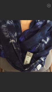 NWT. Navy Blue and White Marble Scarf