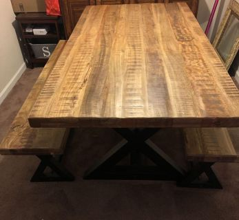 Wesling Wooden Dining Room Table with Benches and Chairs