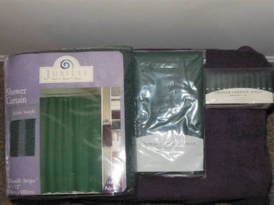 For Sale New in pk shower curtain, liner and hooks, Curtain tie backs,