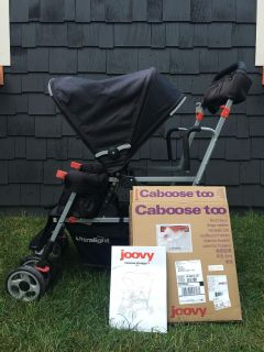 Joovy Caboose Ultralight Stand-On Tandem Stroller with NIB second seat