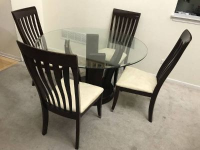 5pc Round Glass & Dark Cherry Dining Table Set