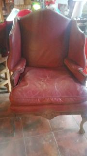 Antique burgundy leather chair