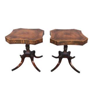 Pair of Weiman Regency Inlaid Side Tables