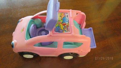 1990 Fisher Price Car Van for CHUNKY STYLE Little People Pink & Purple Musical Sounds