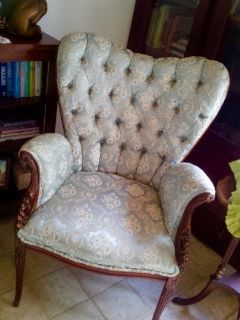 Antique Teal & Cream Chair