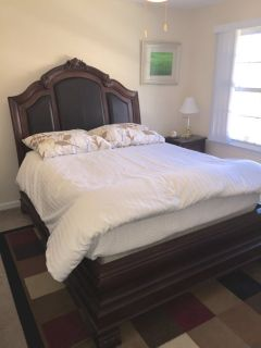 Queen size bed with mattress and box springs