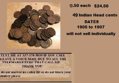 49 Indian Head cents sold together @ .50 each for $24.50