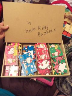 Wooden storage kitty puzzles