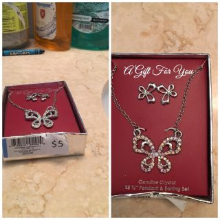 Never worn! Necklace and earrings