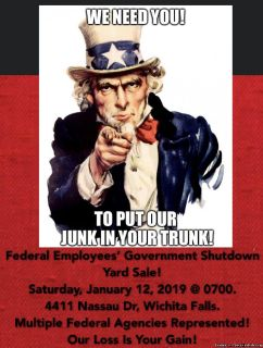 Federal Employees' Government Shutdown Yard Sale