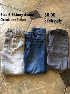 Size 6 jeans. Great condition. $3.00 each.