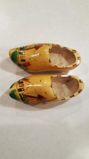 """Vintage Dutch Carved Shoes Clogs Wooden Hand Made in Holland Painted Windmill 7"""""""