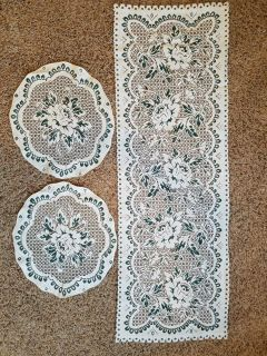 Beige w/Green Floral Coffee Table Lace Runner & End Table Doilies Used