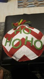 New with tags. Decorative burlap Christmas decoration