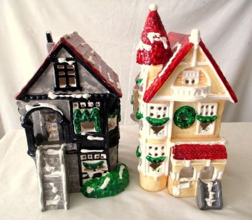 CHRISTMAS HOUSES AND TREES Ceramic matching style house and 4 trees
